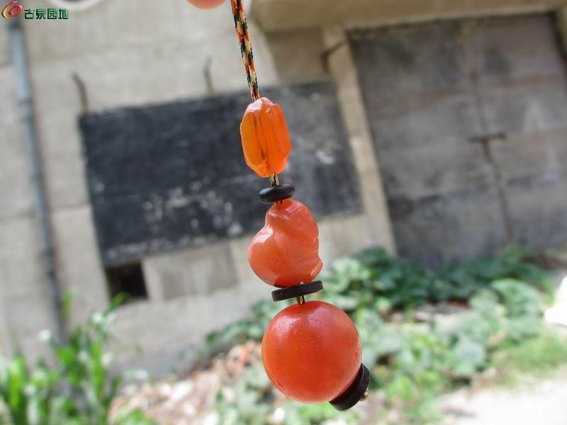 【6月22号】清代樱桃红三件套 灯笼   猴子   大个头帽顶珠 多宝串图片