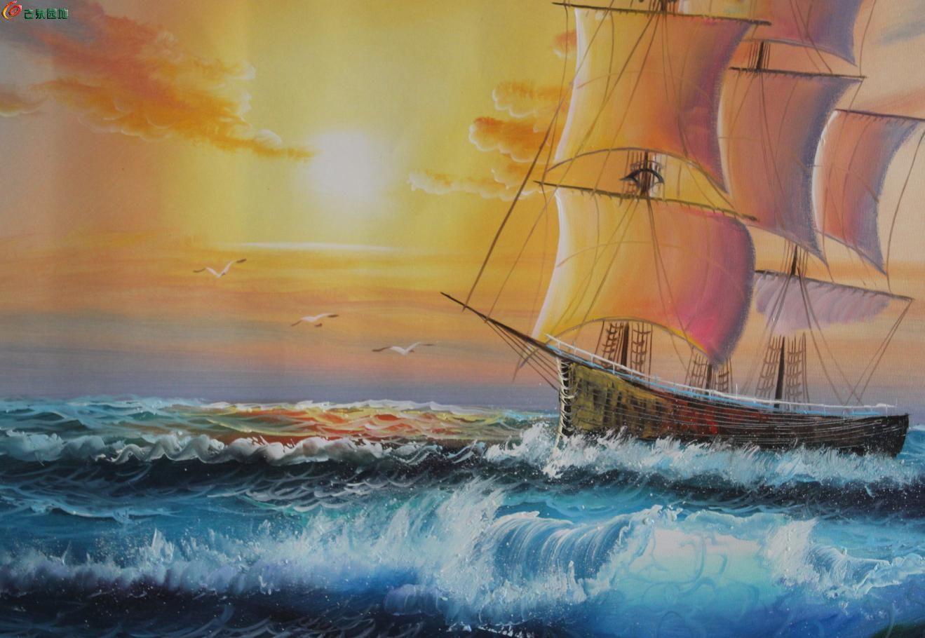【【【-】纯手绘签名油画-----一帆风顺【【【-】】图片